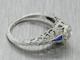 1930s Antique Art Deco 18k Solid White Gold .38ct Diamond Engagement Ring EGL