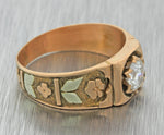 1880s Antique Victorian 14k Rose Gold .50ct Diamond Engagement Band Ring EGL