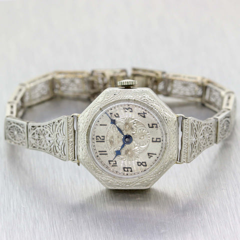 1930s Antique Art Deco 14k White Gold Filigree American Standard Bracelet Watch B9