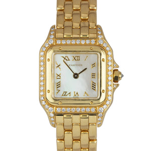 Ladies Cartier Panthère Panther Diamond MOP 18K Yellow Gold 22mm Watch 8057915