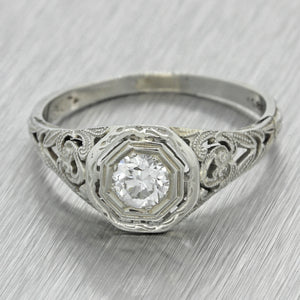 1920s Antique Art Deco 18k Solid White Gold .40ct Diamond Engagement Ring EGL