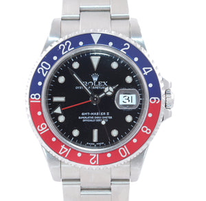 PAPERS 2005 NO HOLES Rolex GMT-Master 2 Pepsi Red Blue Steel 16710 40mm Watch