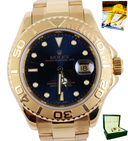MINT Rolex Yacht-Master Blue 16628 18K Yellow Gold 40mm Oyster Date Watch