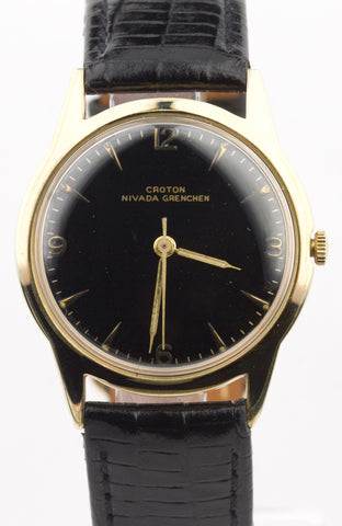 Croton Nivada Grenchen Gold Plated Automatic Leather Band 34mm Watch