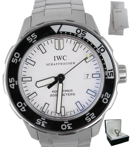 MINT IWC Aquatimer 2000 Date 44mm IW356809 3568-09 Stainless White Black