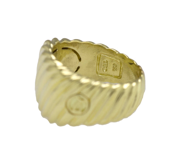 Authentic David Yurman 18K 750 Yellow Gold Wide Cable Cigar Band