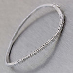 Modern 14k White Gold .50ctw Diamond 2mm Twist Bangle Hinge Bracelet