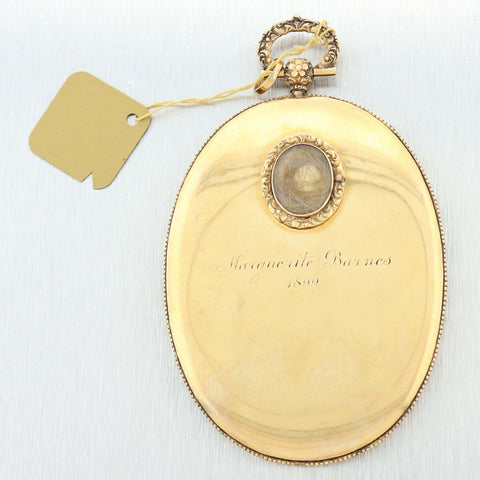 1899s Antique Victorian 14k Gold Hand Painted Porcelain Necklace Pendant B9