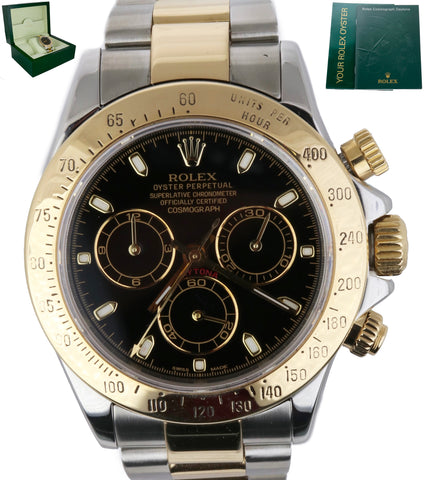 MINT 2005 Rolex Daytona Cosmograph 116523 Black 18K Two Tone Gold 40mm Watch