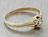 1880s Antique Victorian 9ct Solid Rose Gold .32ct Diamond Engagement Ring EGL