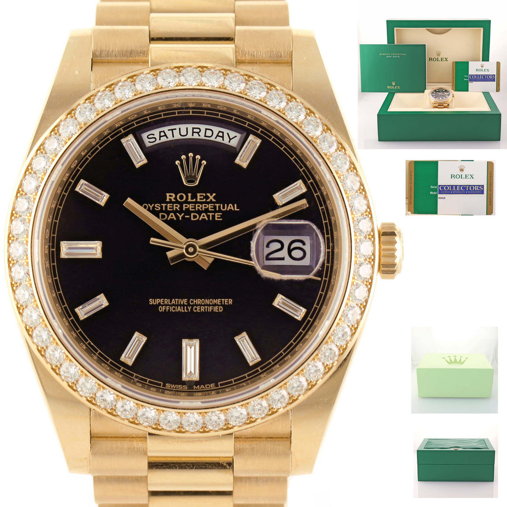 NEW 2019 PAPERS Rolex 40 Black Diamond 228348 18K Yellow Gold President Watch