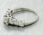 1920s Antique Art Deco Solid Platinum 1.12ctw Diamond Wedding Band Ring EGL
