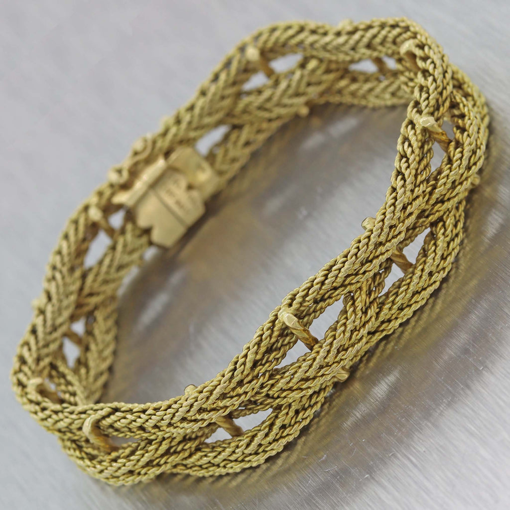 Vintage Estate TIFFANY & CO. 18k Yellow Gold Rope Chain 14mm Wide Bracelet