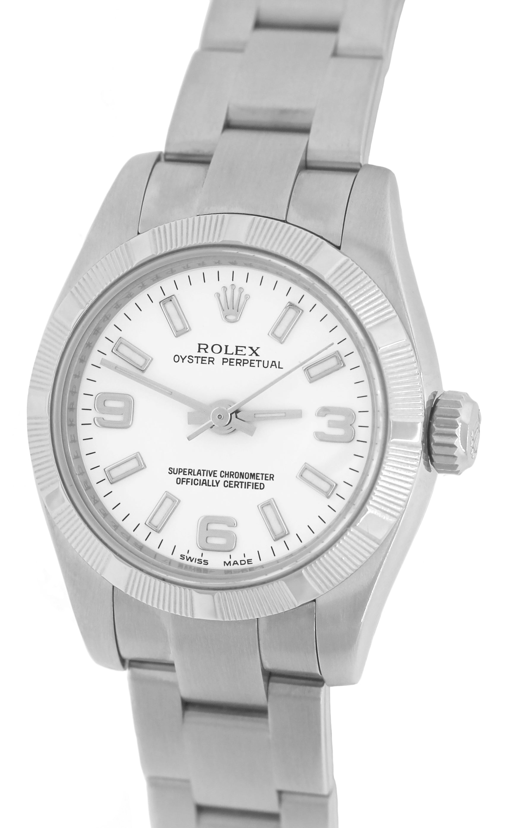 2008 ENGRAVED Ladies Rolex Oyster Perpetual 176210 White 26mm Oyster Watch