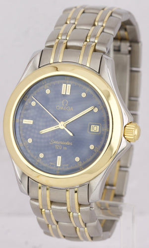Omega Seamaster 120 Midsize 36mm Two-Tone Gold Blue Steel Quartz Watch 196.1501