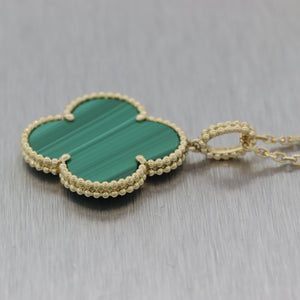 "Van Cleef & Arpels 18k Yellow Gold Magic Malachite Alhambra 36"" Necklace"