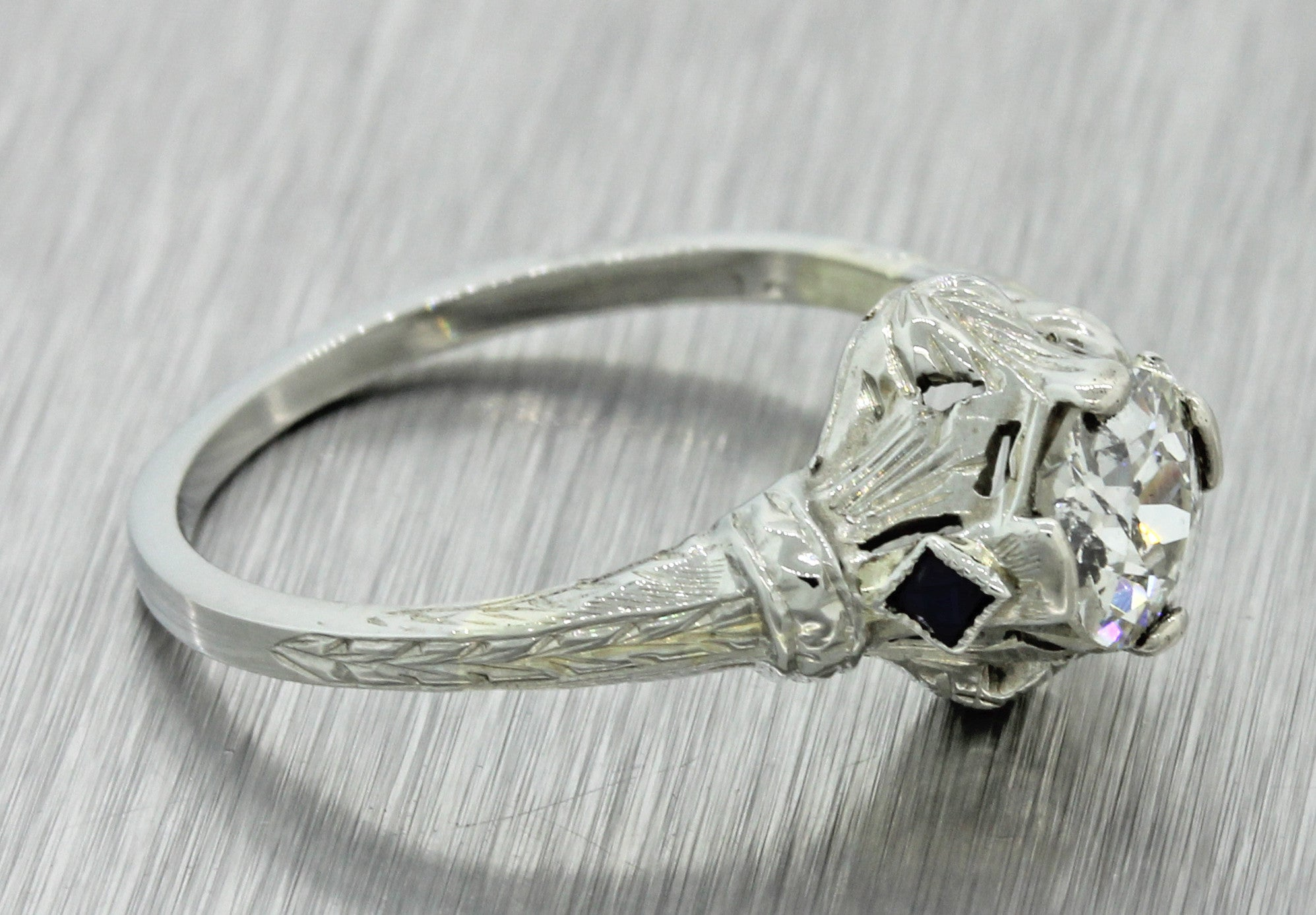 1930s Antique Art Deco 18k Solid White Gold .65ctw Diamond Engagement Ring EGL