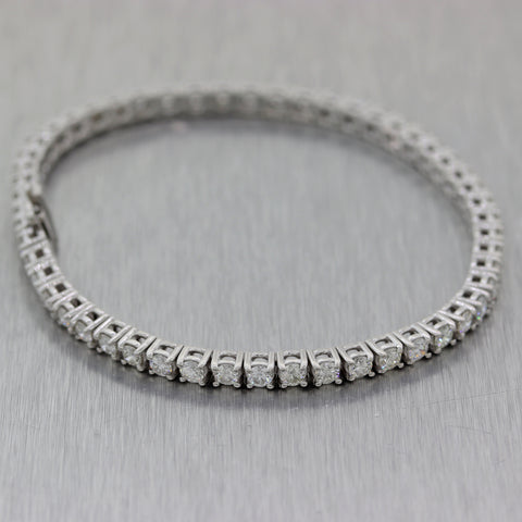 Modern 14k White Gold 4.25ctw Round Cut Diamond Prong Set Tennis Bracelet