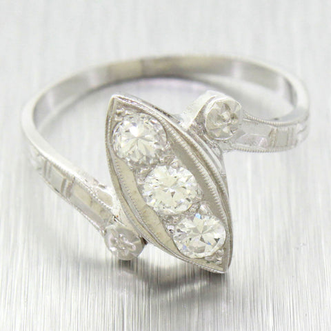 1940s Antique Art Deco 14k Solid White Gold 0.50ctw Diamond Marquise-Style Ring