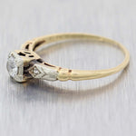 Round .15ct Diamond 14k Yellow Gold Antique Art Deco Estate Engagement Ring A9