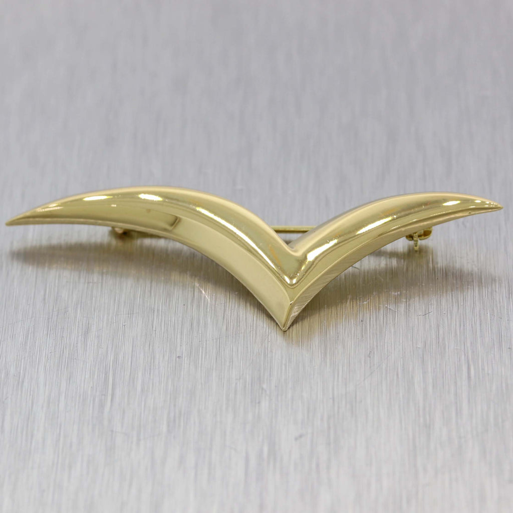 Vintage Estate Tiffany & Co. Solid 18k Yellow Gold Seagull Brooch Pin
