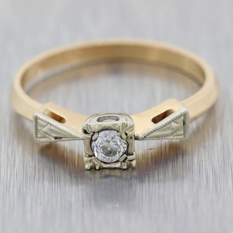 Round .10ct Diamond 14k Yellow Gold Antique Art Deco Solitaire Engagement Ring A9