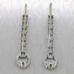 1930s Antique Art Deco Platinum & 14k White Gold 0.75ct Diamond Dangle Earring