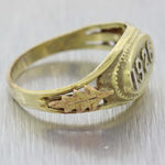 1926 Antique Art Deco Estate 10k Yellow Gold Date Signet Ring A9