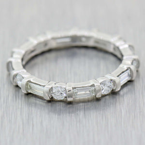 Antique Art Deco Platinum 1.05ctw Baguette Diamond Eternity Wedding Band Ring A9