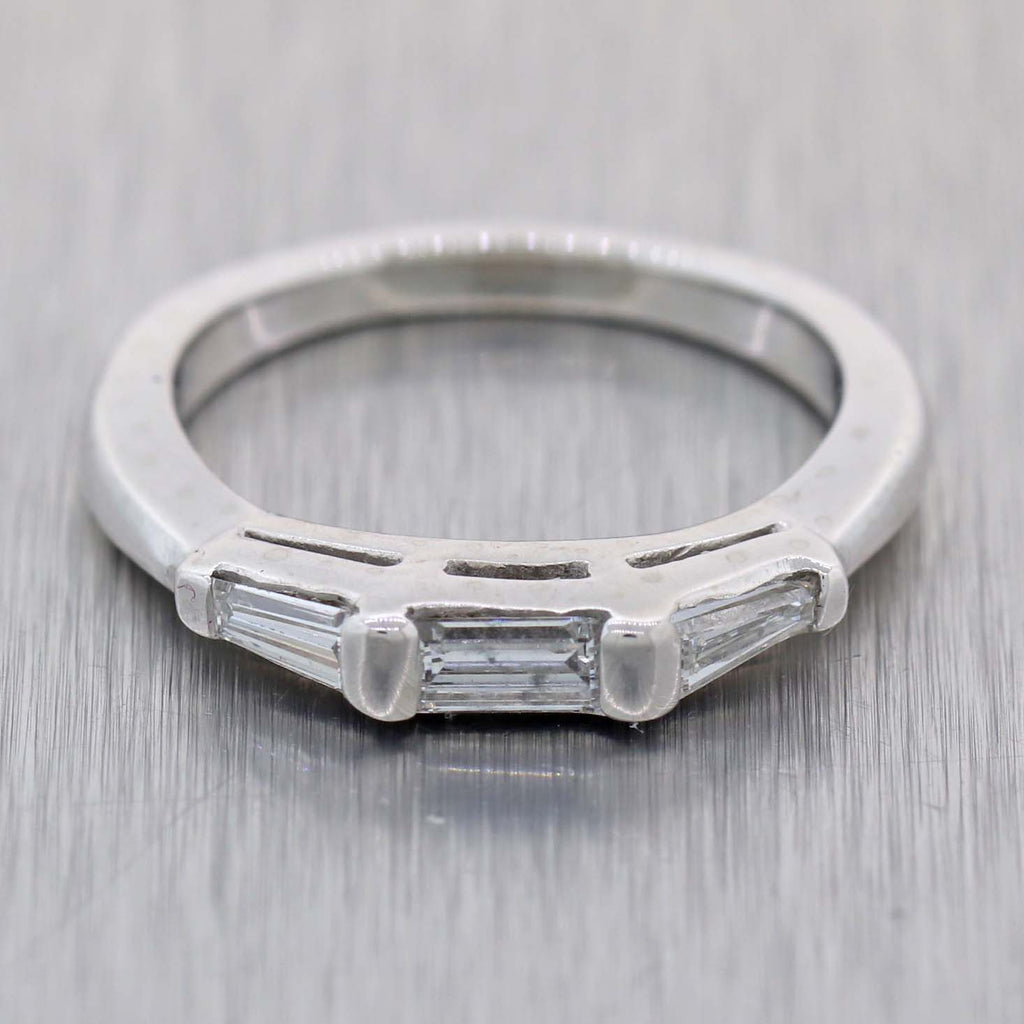 1940s Antique Art Deco 3mm Platinum .50ctw Baguette Diamond Wedding Band Ring