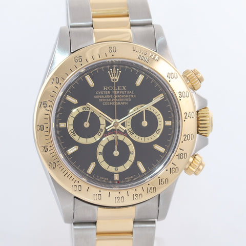 Rolex Daytona 16523 Black Dial Zenith 18k Gold Steel Two Tone Chrono Watch Box