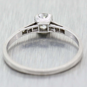 Old European Cut .46ctw Diamond Platinum Antique Art Deco Engagement Ring A9