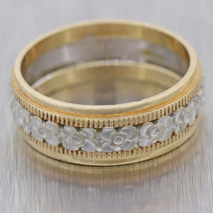 1890s Antique Victorian 14k Yellow White Gold 7mm Wide Mens Wedding Band Ring A9