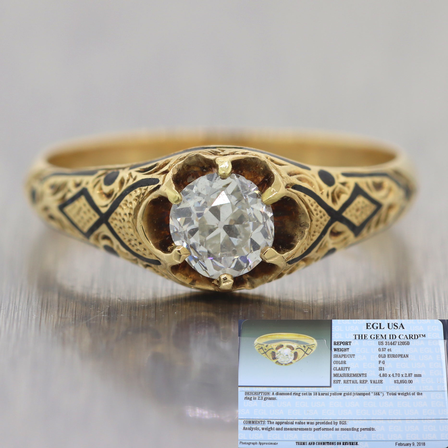 1880's Antique Victorian 18k Yellow Gold 0.33ctw Diamond Engagement Ring EGL