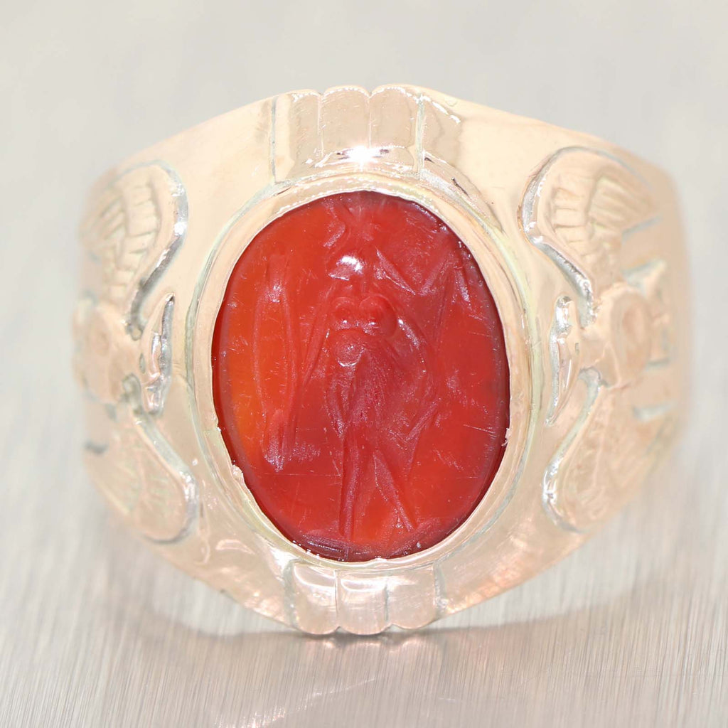 1890s Antique Victorian 10k Rose Gold Wide Carved Agate Warrior Mens Band Ring