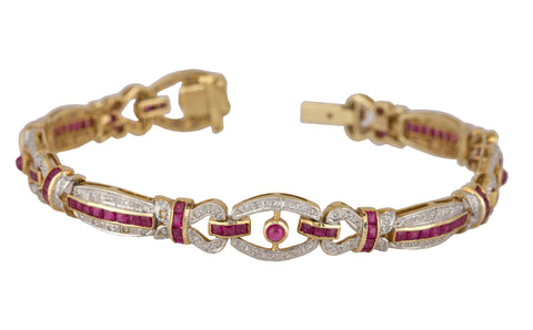 "Women's 14K Two-Tone Gold 0.80ctw Diamond & Ruby 7.00"" Tennis Bracelet"