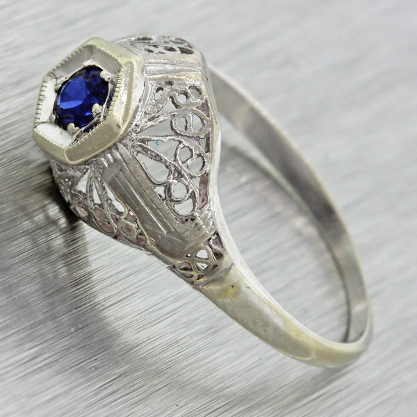 1930s Antique Art Deco 14k Solid White Gold .10ct Sapphire Engagement Ring