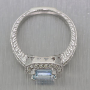 Vintage Estate 14k White Gold 1.50ctw Aquamarine & Diamond Ring