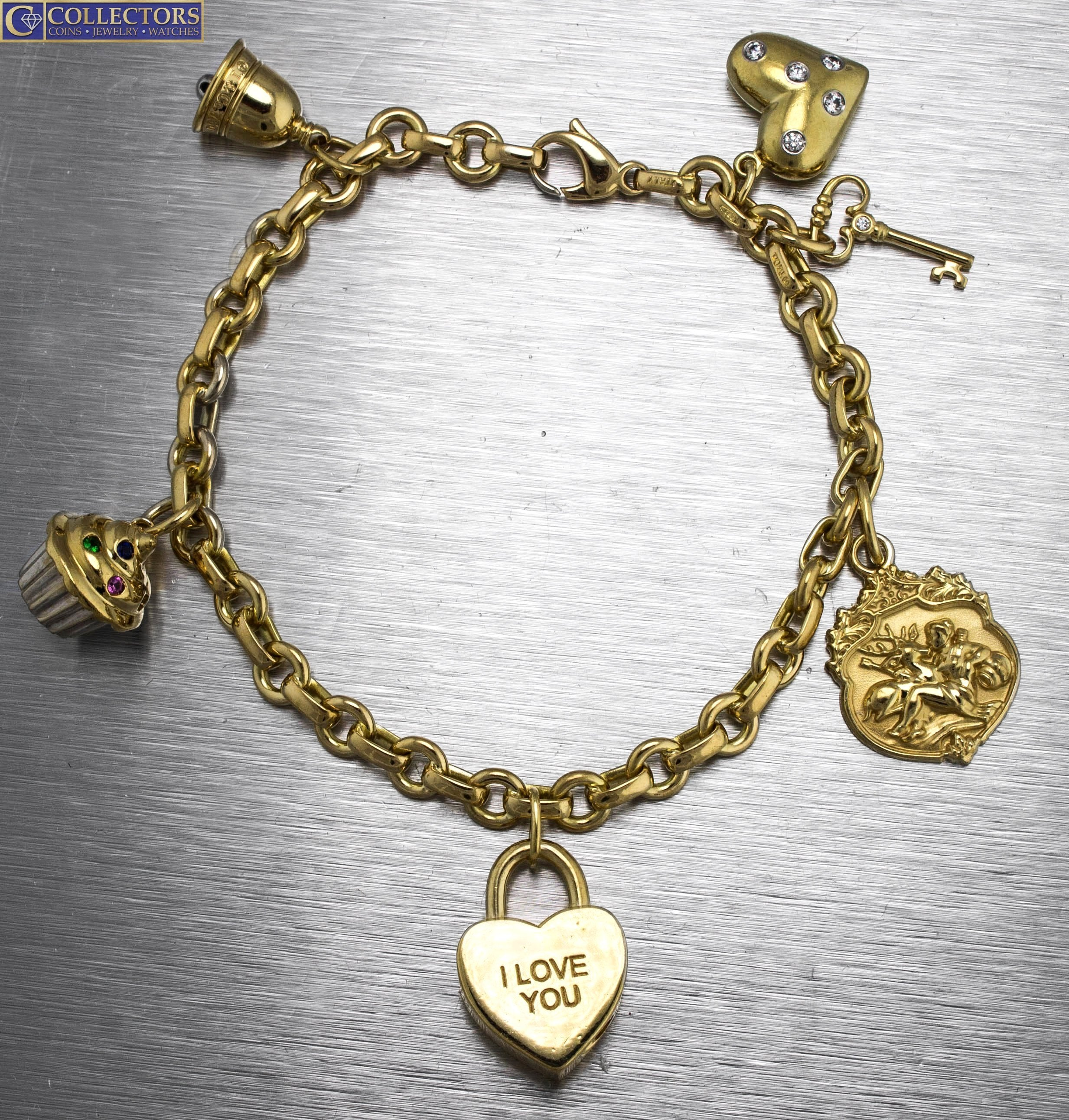 b13365383 Ladies Vintage Estate Tiffany & Co. 18K 750 Yellow Gold Multi Charm  Bracelet ...