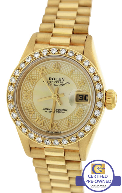 1996 Ladies Rolex DateJust President 26mm Champagne MOP Diamond 69178 Gold Watch