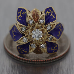 Vintage Estate 14k Yellow Gold 0.40ctw Diamond & Enamel Ring
