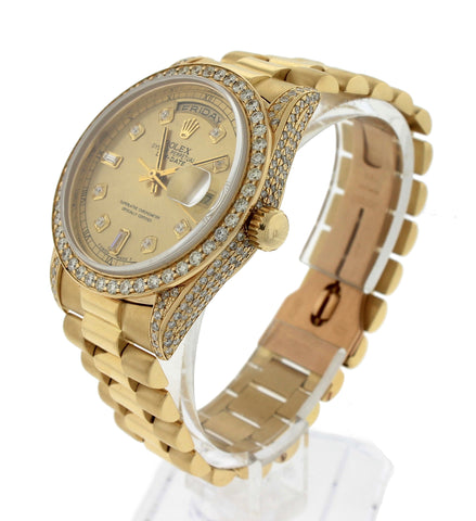 1990 Rolex Day-Date President Double Quickset Diamond 36mm 18238 18K Gold Watch