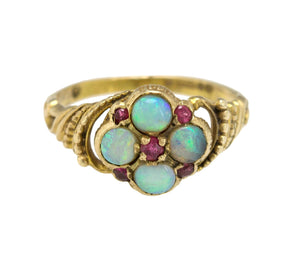 Ladies Antique Estate 9CT Yellow Gold 0.43ctw Opal Ruby Art Deco Cluster Ring