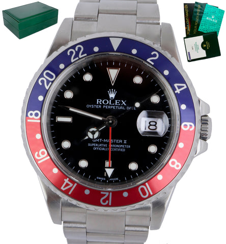 2001 Mint Rolex GMT-Master Pepsi SEL Date 40mm Bue Red Steel 16710 Watch