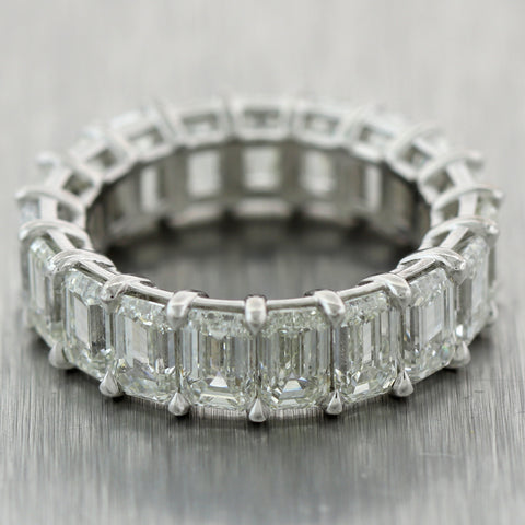Modern Platinum 9.55ctw Emerald Cut Diamond Eternity Wedding Band Ring