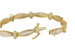 Women's 14K Yellow Gold 3.24ctw Baguette & Marquise Cut Diamond Tennis Bracelet