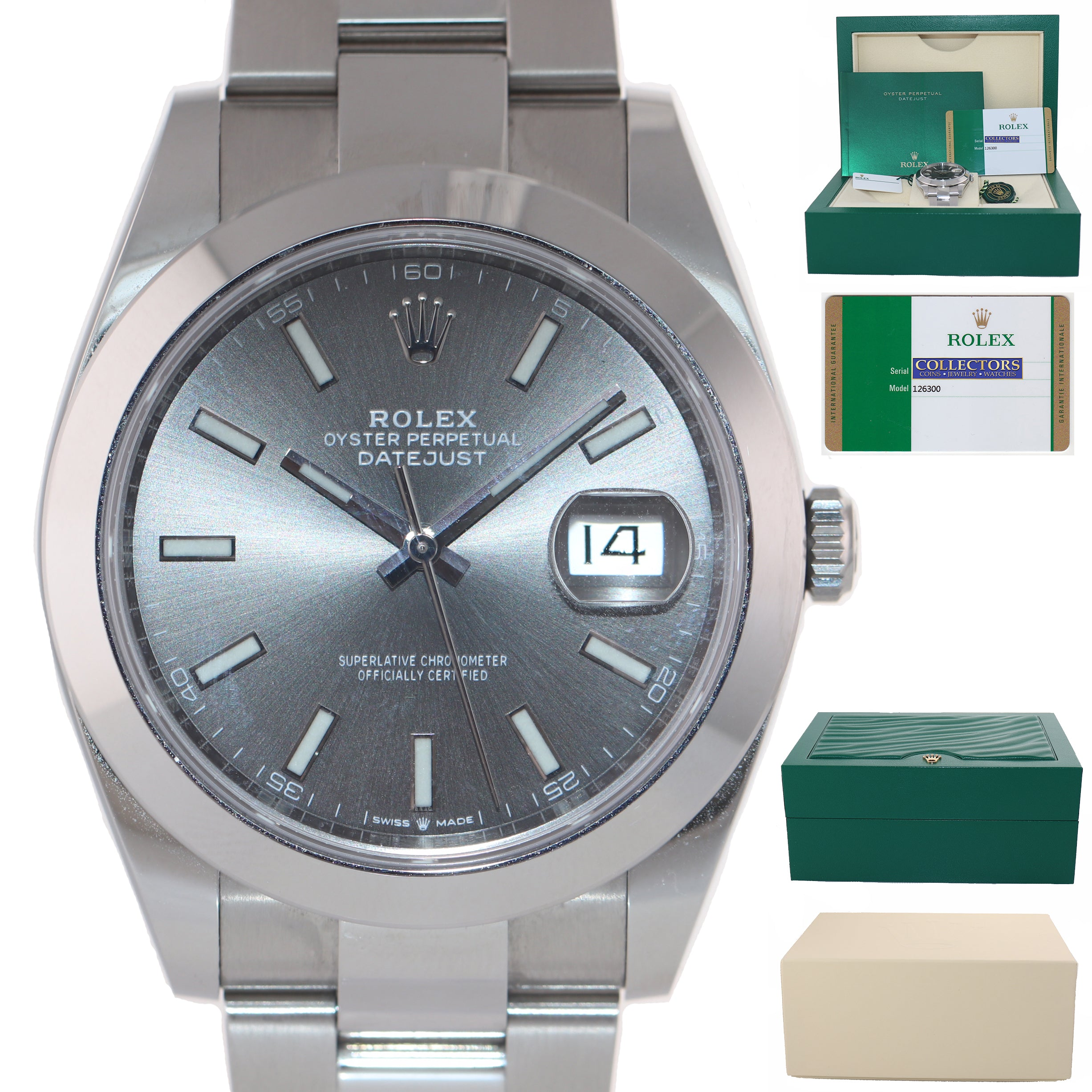 STICKERS 2020 PAPERS Rolex DateJust 41 Steel 126300 Rhodium Oyster Watch Box