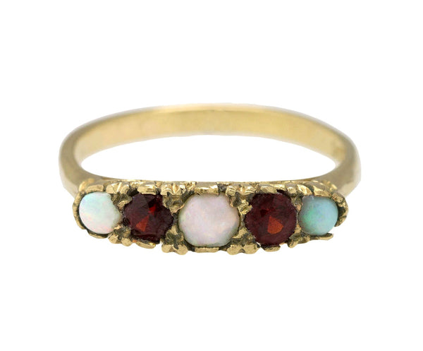 1880s Antique Victorian 9CT Yellow Gold 0.29ctw Opal Garnet Gemstone Ring