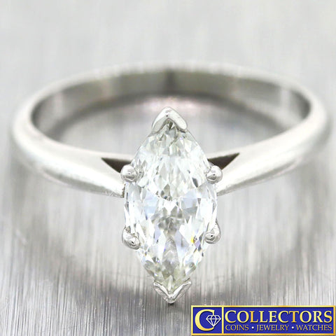 Vintage Estate Platinum .78ct Marquise Shape Cut Diamond Engagement Ring G8 t1