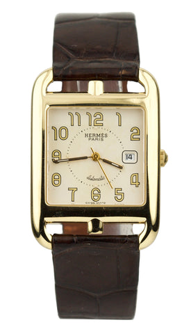 Hermes Cape Cod 18k Yellow Gold Automatic 29mm Brown Leather Watch